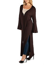 Womens Long Sleeve Maxi Length Plus Size Cardigan