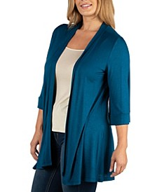 Open Front Elbow Length Sleeve Plus Size Cardigan