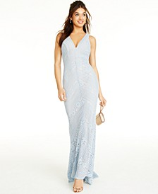 Juniors' Lace Maxi Sheath Dress