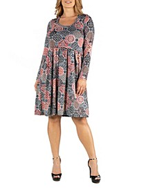 Print Knee Length Pleated Long Sleeve Plus Size Dress