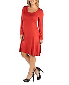 Long Sleeve Flared Plus Size T-Shirt Dress