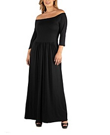 Off Shoulder Pleated Waist Plus Size Maxi Dress