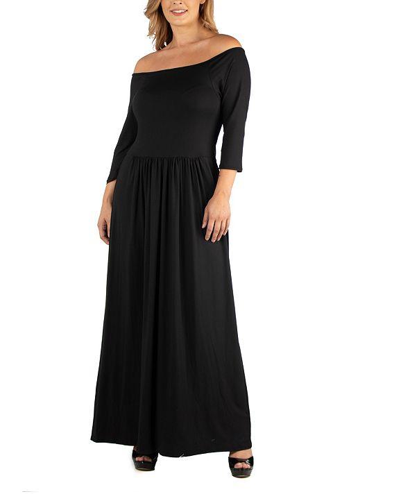 24seven Comfort Apparel Off Shoulder Pleated Waist Plus Size Maxi Dress