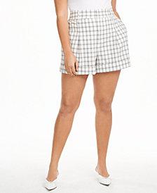 Danielle Bernstein Plus Size Plaid Shorts, Created for Macy's