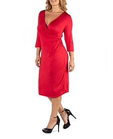 24Seven Comfort Apparel Three Quarter Sleeve Knee Length Plus Size Wrap Dress
