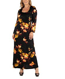 Womens Fall Floral Long Sleeve Plus Size Maxi Dress