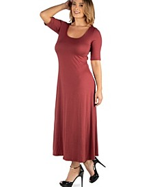 Casual Plus Size Maxi Dress with Sleeves