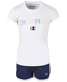 Little Girls 2-Pc. Varsity T-Shirt & Shorts Set