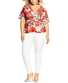 Trendy Plus Size Printed Twist-Front Top