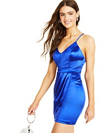 Juniors' Satin Strappy-Back Dress
