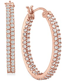 Cubic Zirconia In & Out Oval Hoop Earrings in 18k Rose Gold-Plated Sterling Silver