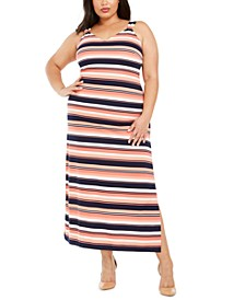 Plus Size Striped Sleeveless Maxi Dress