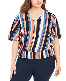 Plus Size Striped Smocked Top