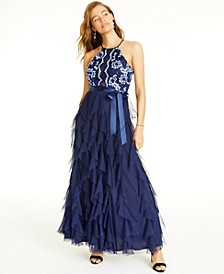 Juniors' Embroidered-Top Layered-Skirt Gown, Created for Macy's