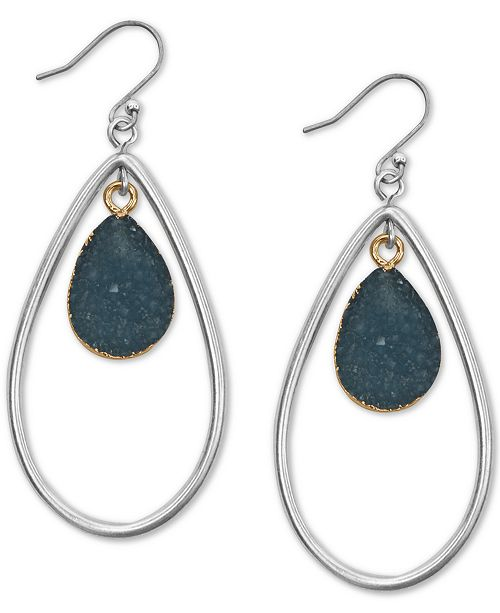 Lucky Brand Two-Tone Druzy Stone Drop Earrings
