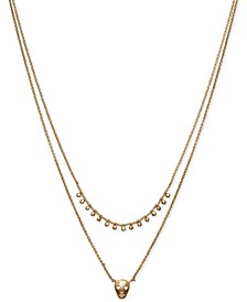 "Gold-Tone Bead & Skull Layered Necklace, 18"" + 2"" extender"