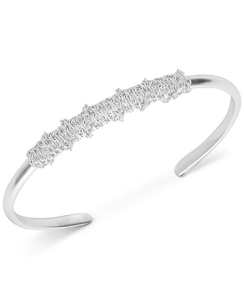 Lucky Brand Silver-Tone Chain-Wrapped Cuff Bracelet