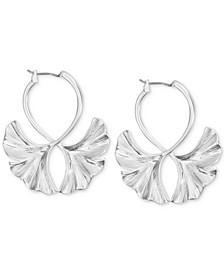 Silver-Tone Double Ginkgo Leaf Drop Earrings