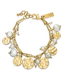 INC Gold-Tone Imitation Pearl & Hammered Disc Shaky Charm Bracelet, Created for Macy's