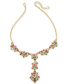 "Gold-Tone Crystal Hydrangea Lariat Necklace, 17"" + 2"" extender, Created for Macy's"