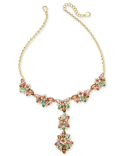 """Charter Club Gold-Tone Crystal Hydrangea Lariat Necklace, 17"""" + 2"""" extender, Created for Macy's"""