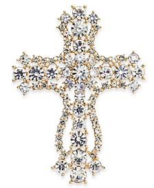 Gold-Tone Crystal Cross Pin, Created for Macy's