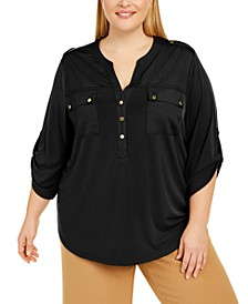 Plus Size Roll-Sleeve Top