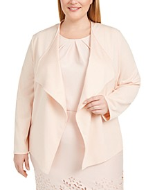 Plus Size Draped Open-Front Jacket
