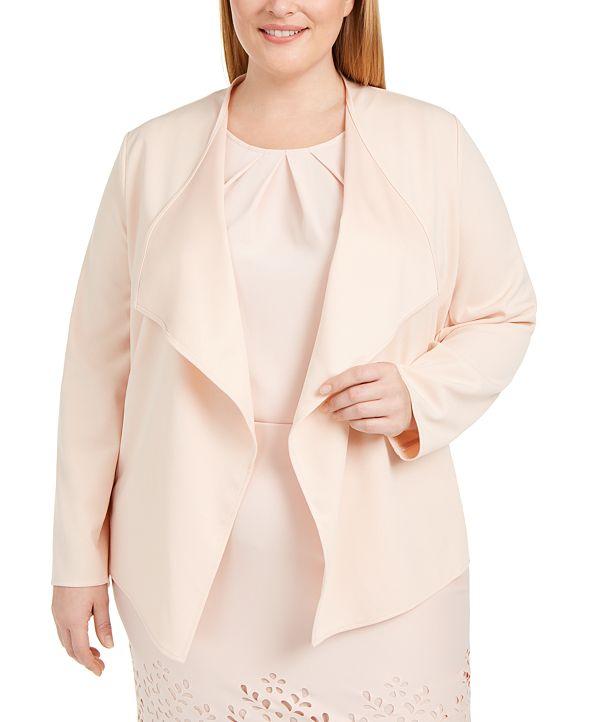 Nine West Plus Size Draped Open-Front Jacket