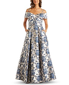 Petite Floral-Brocade Cold-Shoulder Gown