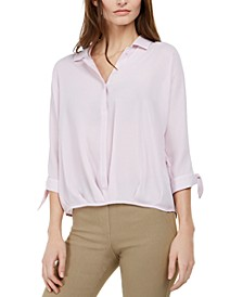 Petite Tie-Sleeve Blouse, Created for Macy's