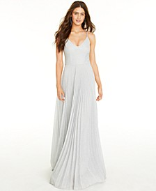 Juniors' Glitter Pleated Gown