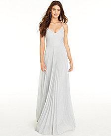B Darlin Juniors' Glitter Pleated Gown