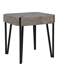 Dani Concrete Square End Table With Black Metal Legs