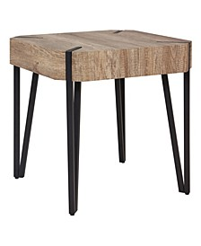 Dani Aged Oak Square End Table With Black Metal Legs