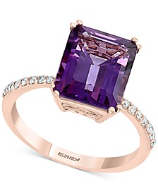 EFFY® Amethyst (3-7/8 ct. t.w.) & Diamond (1/6 ct. t.w.) Ring in 14k Rose Gold
