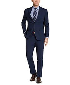 Men's Slim-Fit Stretch Navy Blue Plaid Suit