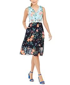 V-Neck Pattern-Blocked Dress