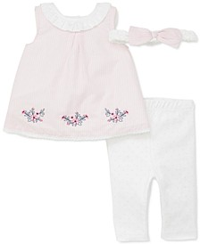 Baby Girls 3-Pc. Cotton Headband, Striped Tunic & Leggings Set