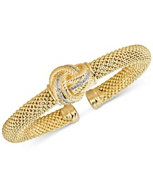 Diamond Love Knot Mesh Bangle Bracelet (1/4 ct. t.w.) in Gold-Tone Sterling Silver Vermeil