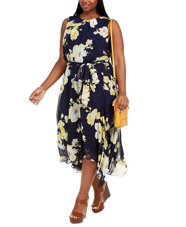 Jessica Howard Plus Size Floral-Print Midi Dress