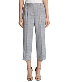 Plaid Cropped Pleated Mid-Rise Pants