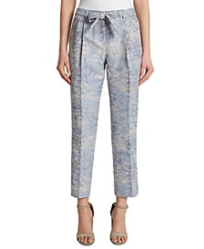 Metallic Floral Tie-Belt Slim-Straight Dress Pants