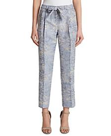 Petite Metallic Floral-Print Tie-Front Pants
