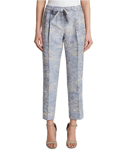 Tahari ASL Metallic Floral Tie-Belt Slim-Straight Dress Pants
