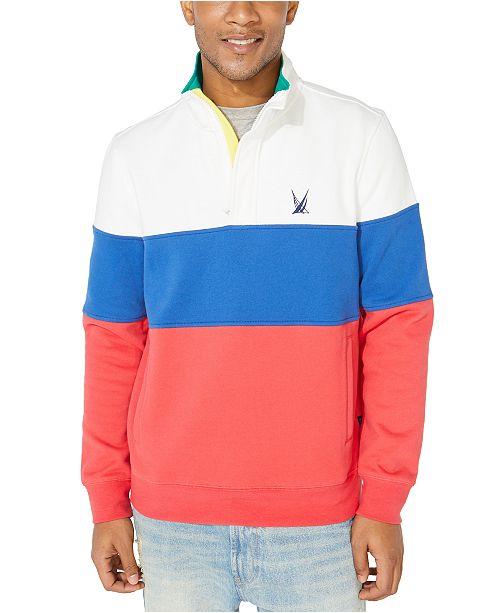 Nautica Men's Colorblocked Quarter-Zip Jacket, Created For Macy's