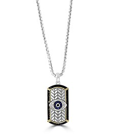EFFY® Men's Multi Sapphire (1/4 ct. t.w.) Evil Eye Pendant in Sterling Silver and 14k Yellow Gold