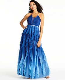 Juniors' Embellished Petal Gown