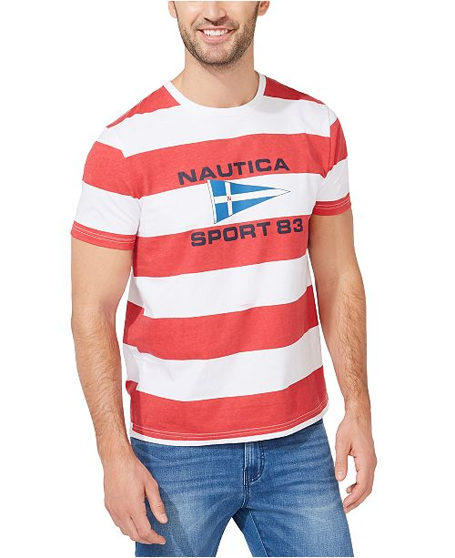 Nautica Men's Sporty Logo Stripe T-Shirt
