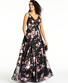 Juniors' Foil Printed Chiffon Ball Gown